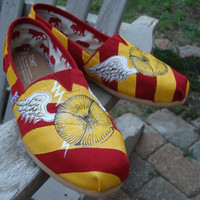 Wizard's sport shoes-wings-red and gold-hand painted on TOMS shoes-made to order