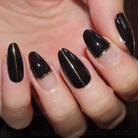 Black and negative space with gold stripe accent • Handpainted False Nails • Fake Nails • Press on Nails •