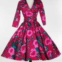 Birdie Dress with Three-Quarter Sleeves in Baton Rouge and Pink Floral Print