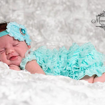 baby romper, 2pcs Light Aqua Lace Petti Romper set, newborn romper, Aqua Petti romper, baby girls set, Baby outfit, Birthday outfit, newborn