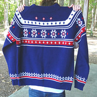 Men's Vintage Sweater in Red, White & Blue Nordic Ski 1970s Boyfriend Large Size