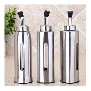 Stainless Steel Oil Kettle Vinegar Can Soy Bottle with Visible Window triangle