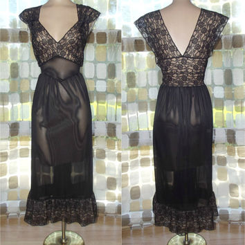 Vintage 50s Black Lace & Nude Chiffon Princess Nightgown Illusion Lingerie BLUE SWAN 36