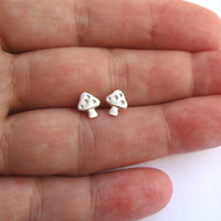 Mushroom Tiny Stud Earrings sterling silver Toadstool Earrings gift women kids girl teen mom Jewelry mini Christmas Halloween Fairy Circle