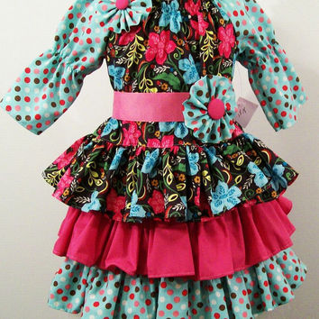 Girls Peasant Dress- Floral and Dots- 3 Ruffles ----#208