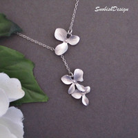 Orchid Jewelry  Silver Orchid Necklace  Sterling by SnobishDesign