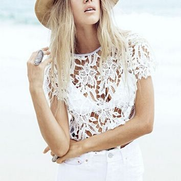 White Cut Out Lace Patchwork T-Shirt
