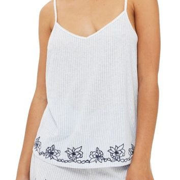 Topshop Embroidered Oxford Stripe Pajama Tank | Nordstrom
