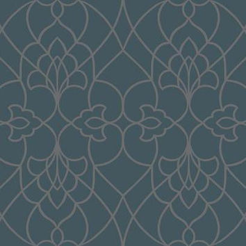 Sample of Pirouette Wallpaper in Metallic Blue design by York Wallcoverings