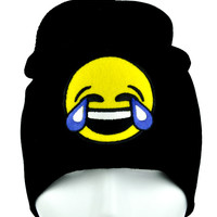 Cry Laughing Face Emoji Beanie Tears of Joy Alternative Clothing Knit Cap