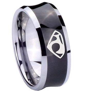 8mm House of Van Concave Black Tungsten Carbide Wedding Band Ring