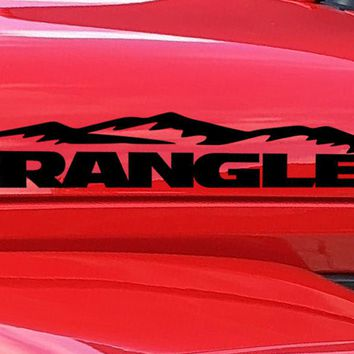 Jeep Wrangler Hood Logo with Mountains Vinyl Decal Sticker