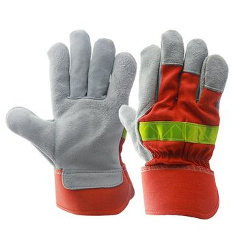 Leather Work Glove Safety Fire Protective Gloves Fire Proof Anti-fire Equipment Heat Resistant With Reflective Strap