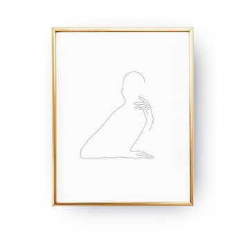 Adorable Woman Print, Line Drawing Print, Female Art, Black And White, Minimalist Art, Feminine Silhouette, Single Line, Simple Sketch