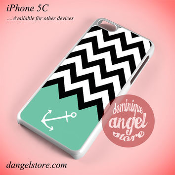 Black White Chevron Blue Anchor Phone case for iPhone 5C and another iPhone devices