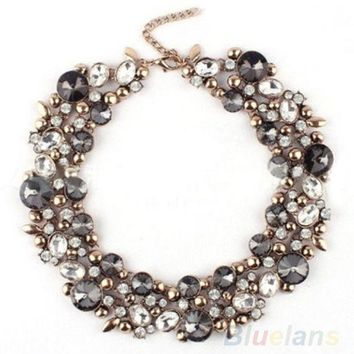 LMFUG3 New Design Women's Gorgeous Bib Statement Black Mixed Crystal Necklace = 1947009988