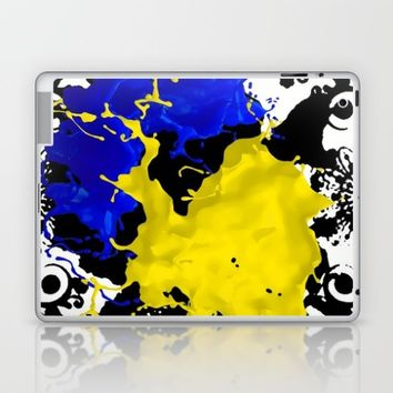 black white blue yellow Laptop & iPad Skin by violajohnsonriley