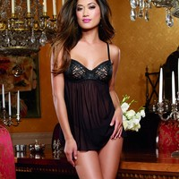 Black Stretch Mesh Babydoll Lingerie