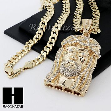 "MEN LIL WAYNE JESUS FACE & DIAMOND CUT CUBAN 24"" 30"" 36"" CHAIN NECKLACE"