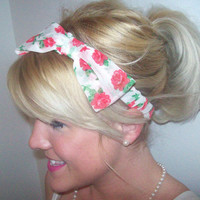 Cream and rose bow headband for adult/child