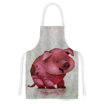 "Rachel Kokko ""This Little Piggy"" Pink White Artistic Apron"