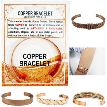 Copper Pain Relief Healing Therapy Arthritis Cuff Bracelet Bangle Women Men