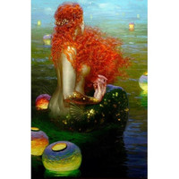 """Print on Canvas The Nude Sleeping Mermaid Painting Wall Decoration Art Decor 12x18 inch No Framed FC006 (Size: 12"""" by 18"""", Color: Multicolor)"""