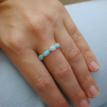 Blue opal Ring - Gold Rings - 14k Yellow Gold plated Over Brass - Gemstone Band - Bezel Rings-Mother's Day Gift Promise Ring