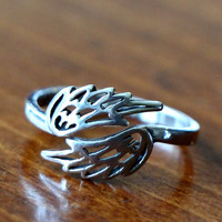 Angel Wings Ring, Guardian Angel Jewelry, Memorial Jewelry, Sterling Silver Adjustable Ring