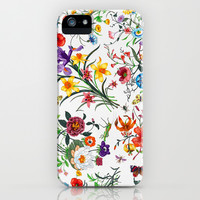 White Floral Print iPhone & iPod Case by Lucy Helena