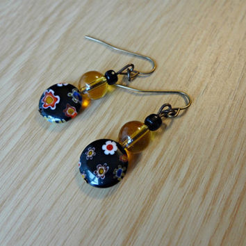 Floral Black and Yellow Beaded Earrings by EudaimoniaJewelry