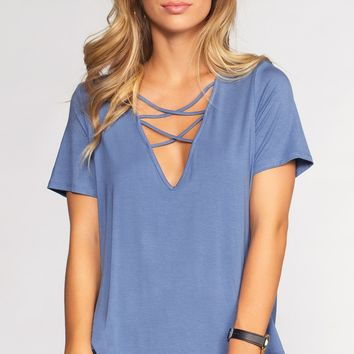 Kaia Cross Over Top - Denim Blue