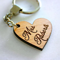 Keychain Personalized Mrs, Newlywed Keychain, teacher keychain, bridal shower gift, heart keychain, wood keychain, mrs. keychain, bride gift