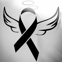 Car Window Decal Vinyl Decal - Angel - Angels  - Cancer Ribbon - Awareness Ribbon - Cancer Awareness Ribbon - Awareness Ribbon Decal