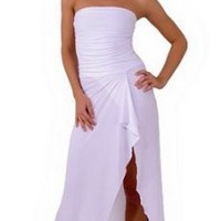 Sexy Long Sophisticated Formal Prom Suitable Tube Dress with Draped Hem from Hot Fash Dresses -...