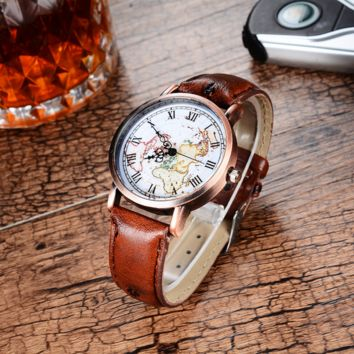 Unisex Antique Bronze Textured Leather Band Quartz Wristwatches Casual World Map Watch Men Women