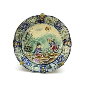 Wasmuel Majolica Plate. Antique Majolica Wall Plate. Wasmuel Children Plate.