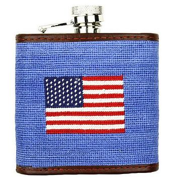 Limited Edition Southampton-American Flag Needlepoint Flask in Light Blue by Smathers & Branson