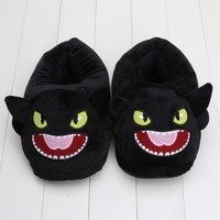 How to Train Your Dragon Toothless Night Fury plush slippers soft stuffed house shoes