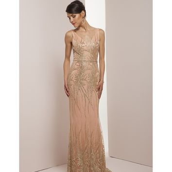 Preorder - Mignon VM35303 Champagne Fitted Sexy Embellished Long Dress 2016 Prom Dresses