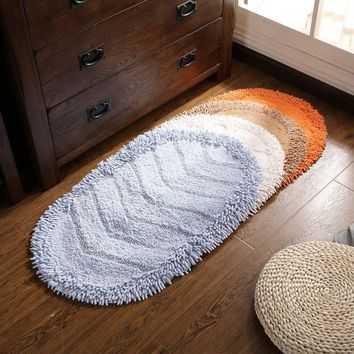 Oval cotton chenille mats Bathroom Water non-slip mat Bedroom door mat Solid color stripes carpet livingroom plush rug