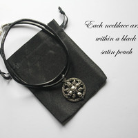 Gunmetal Winged Skull Pendant, attached to a Black Leather Necklace, arrives with satin pouch