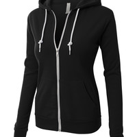 LE3NO PREMIUM Womens Active Soft Fleece Zip Up Hoodie Jacket