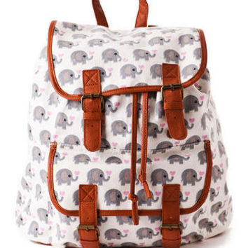 San Diego Elephant Printed Backpack