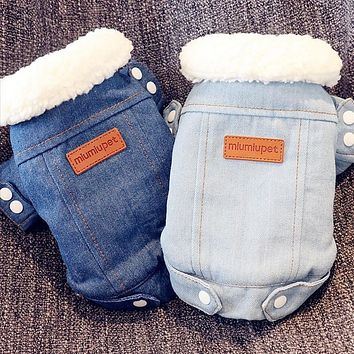 Luxury Winter Dog Jacket Puppy Dog Clothes Pet Outfits Dog Denim Coat Jeans Costume Chihuahua Poodle Bichon Pet Clothing 35S1