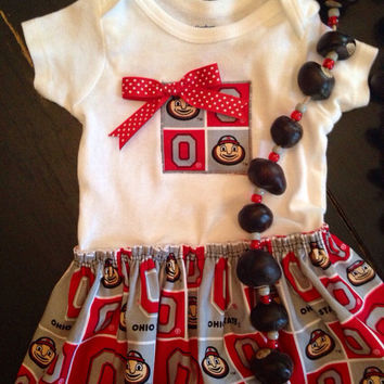 Skirted Ohio State Onesuit, Buckeye Baby Dress