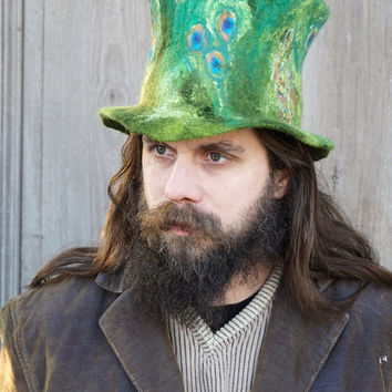 Unique fancy felted top hat St. Patrick's Day Irish green high hat Leprechaun top hat Magic wizard's hat Festival fashion unusual hat OOAK