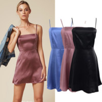 Summer Fashion Sexy Straps Side Stripe Satin Show Thin Dress