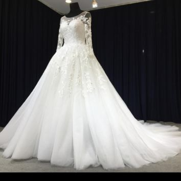 Long Sleeve Lace Wedding Dress Illusion Neckline Tulle Ball Gown Bridal Gown