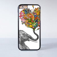 Cute Elephant Blow Flower Plastic Case Cover for Apple iPhone 6 6 Plus 4 4s 5 5s 5c